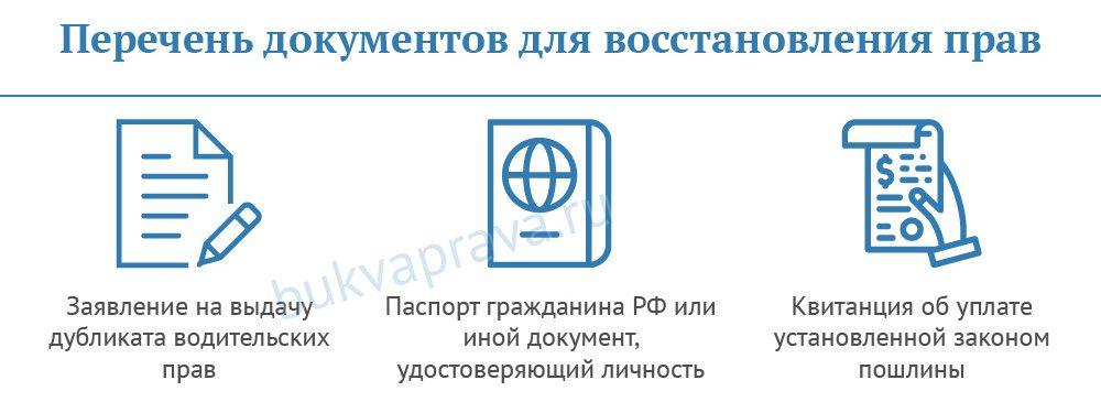 перечень документов для восстановления прав