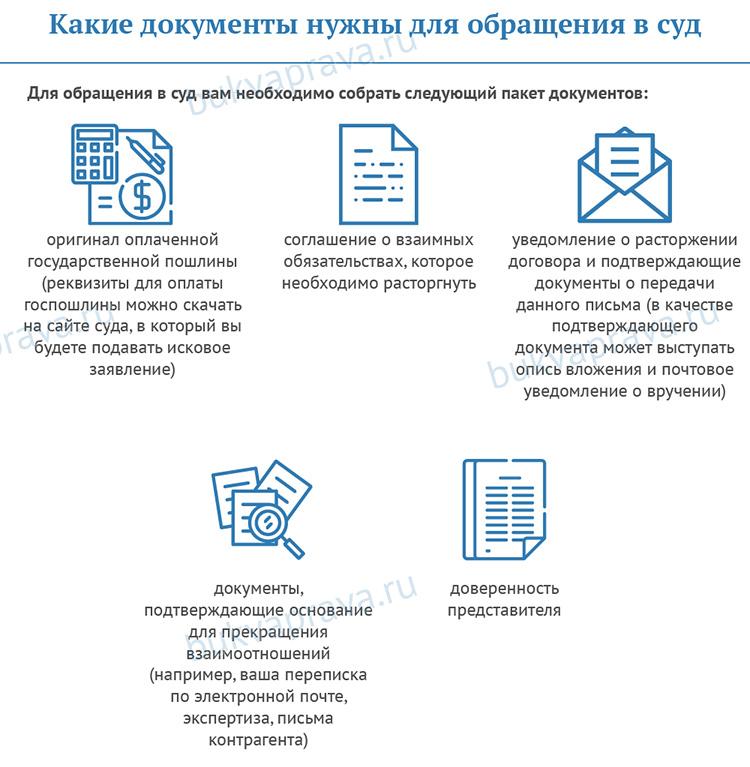 dokumenty nuzhny dlya obrashcheniya v sud pri rastorzhenii dogovora