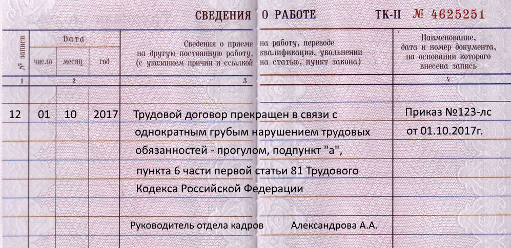 trudovaya-knizhka-pri-uvolnenii-za-progul